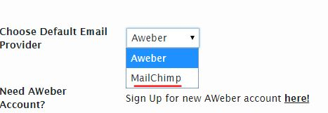 Choose Mailchimp from menu