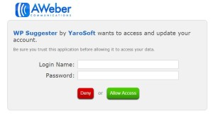 Enter Aweber Username and Password